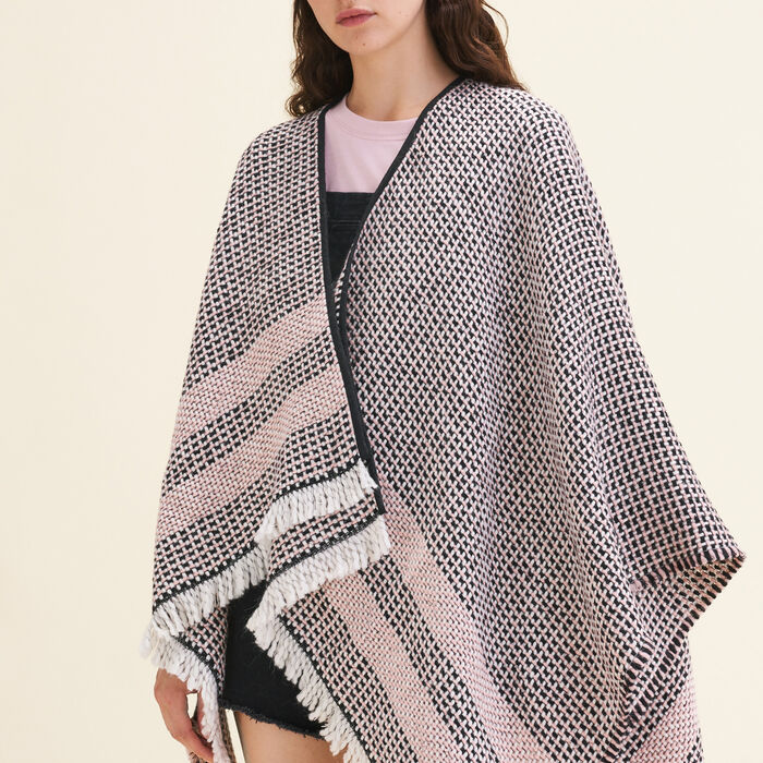 Decorative two-tone knit poncho -  - MAJE