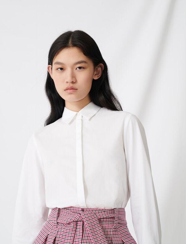 마쥬 셔츠 MAJE 220COCKY White poplin shirt,White