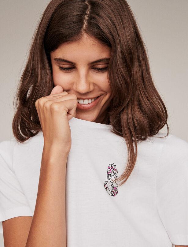 마쥬 라인스톤 티셔츠 MAJE Virgo rhinestone embroidered t-shirt,Ecru