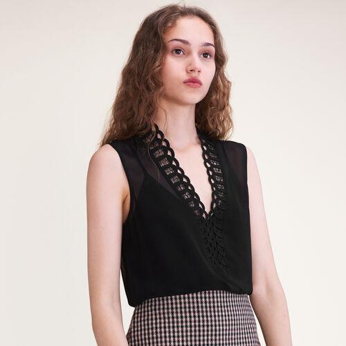 Embellished voile top - Tops & T-Shirts - MAJE