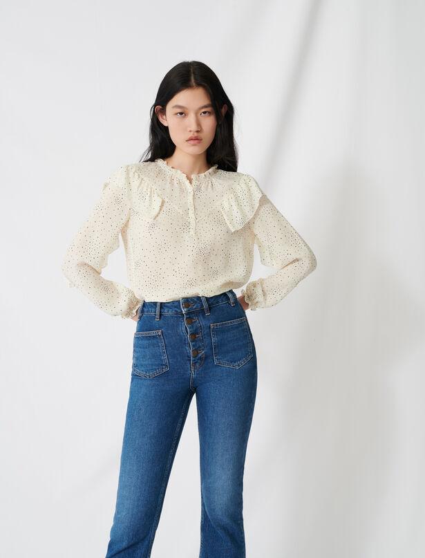 마쥬 블라우스 MAJE 220LACKY Floaty blouse with romantic ruffles,Ecru / Black
