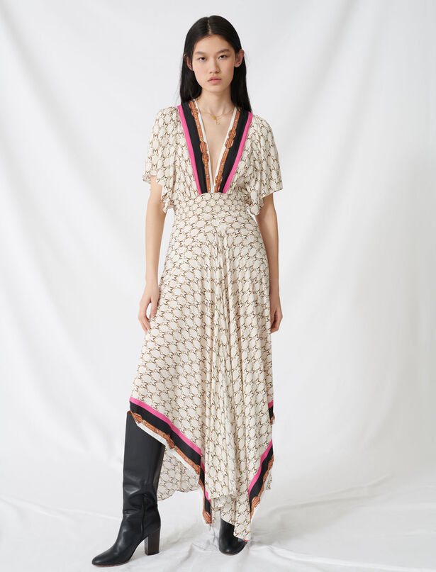 마쥬 브이넥 패턴 롱 모슬린 원피스 MAJE 220RACHELINE Muslin dress with scarf print,Ecru