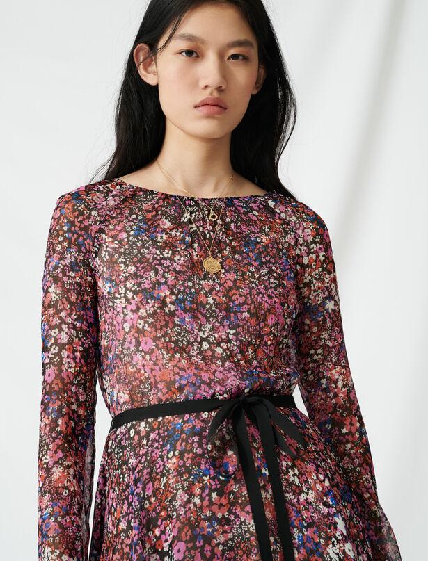 마쥬 플로럴 패턴 벨티드 실크 원피스 MAJE 220RELANA Belted floral dress,Black/Pink