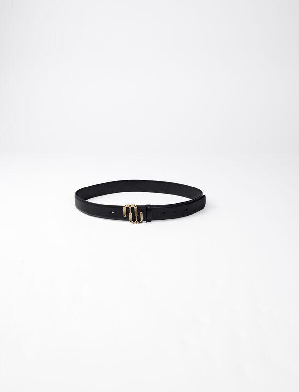 마쥬 벨트 MAJE 220ADOUBLEM Leather belt with monogram buckle,Black