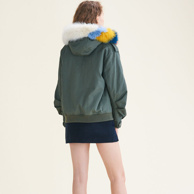 Jacket with multicoloured fur - Coats & Jackets - MAJE
