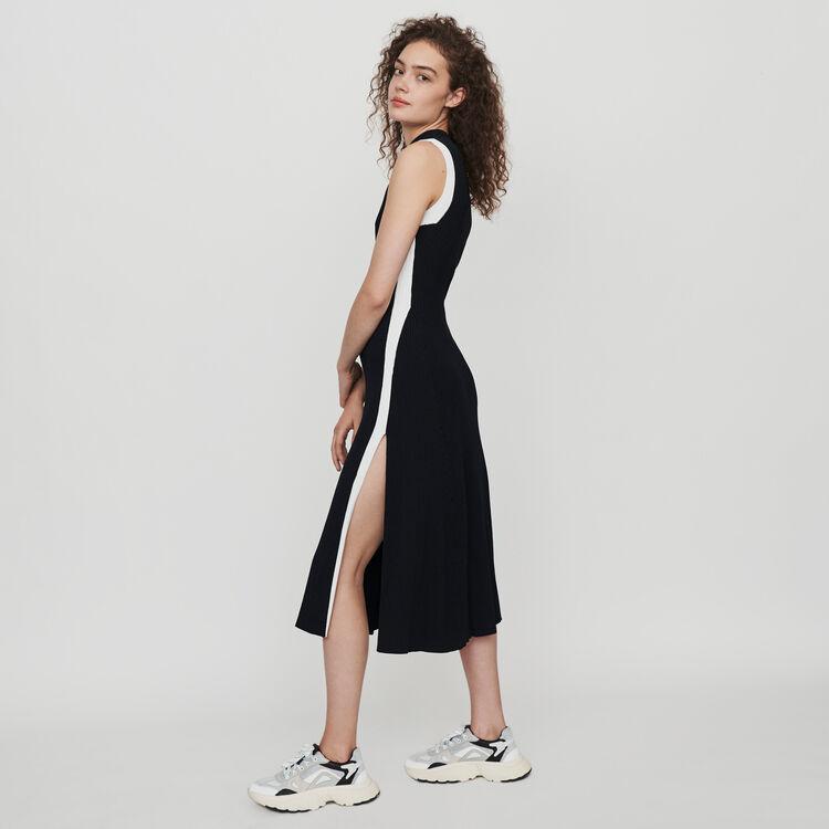 마쥬 MAJE 119ROSE Split and contrasting ribbed dress,Black