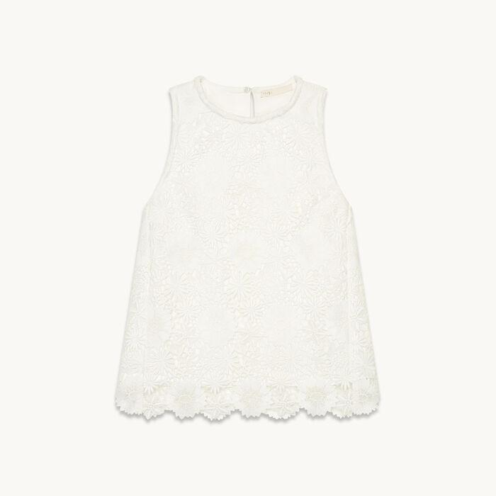 Sleeveless guipure top - Tops & Shirts - MAJE