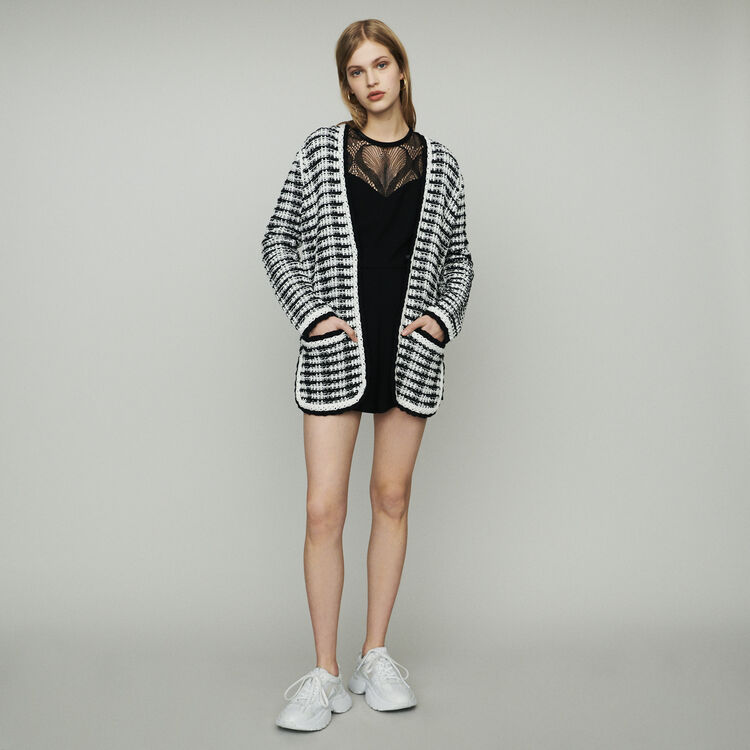 마쥬 MITCH 트위드 스타일 롱 가디건 MAJE MITCH Long cardigan jacket in tweed-style,Two-Tone