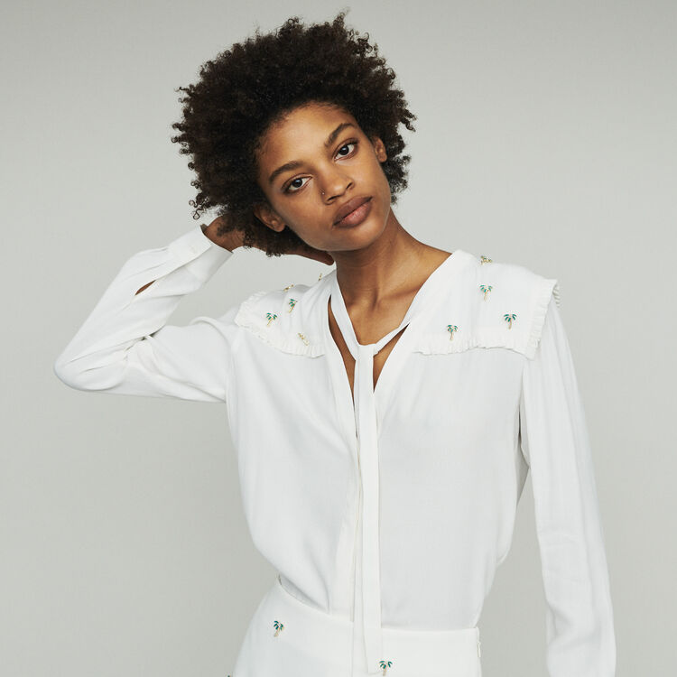 마쥬 CIL 크레이프 블라우스 MAJE CIL Crepe blouse with palm jewels,Ecru