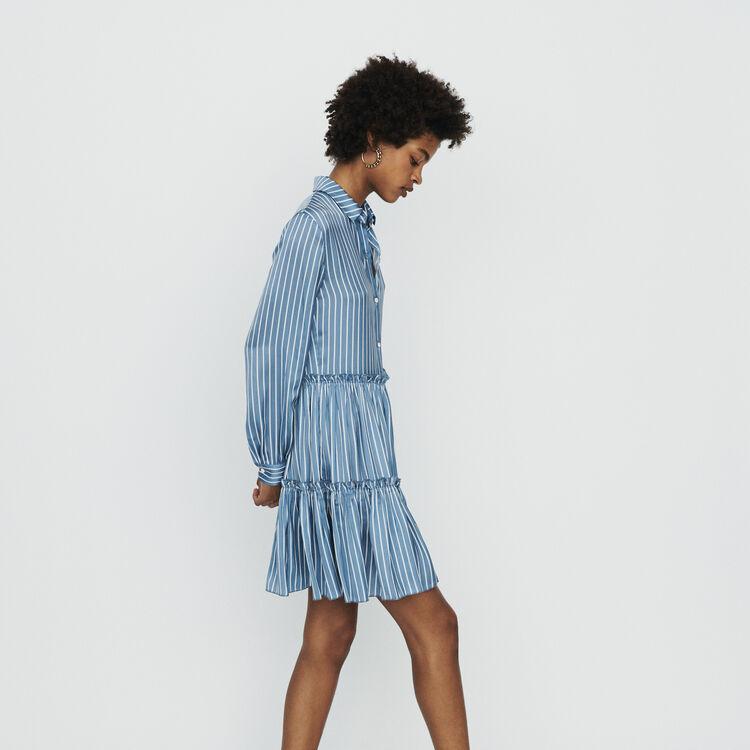 마쥬 RODESA 스트라이프 러플 셔츠 원피스 MAJE RODESA Striped shirt dress with ruffles,Stripe