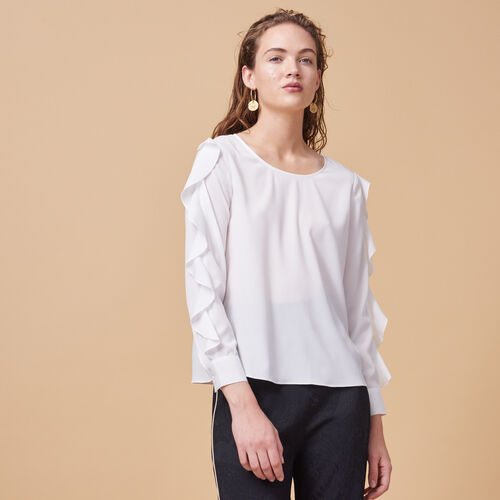 Blouse with flounced sleeves - Tops & Shirts - MAJE