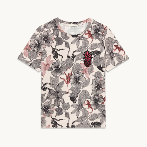Printed T-shirt with crest - Tops & Shirts - MAJE