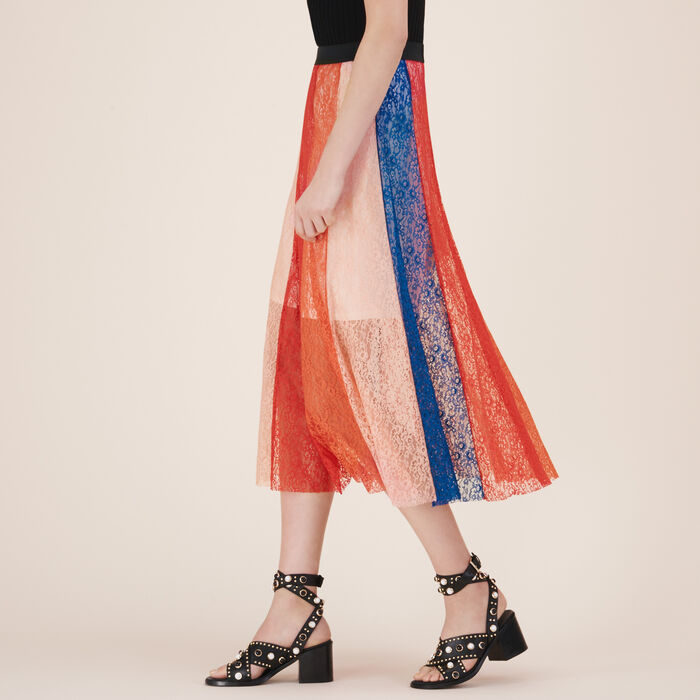 Long skirt with lace bands -  - MAJE