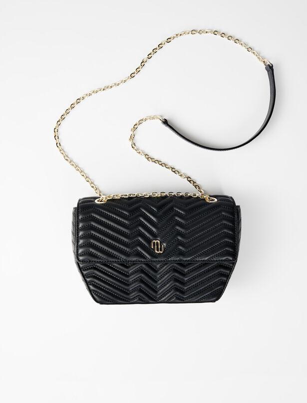 마쥬 크로스바디백 MAJE 220CUT Quilted leather bag with flap,Black