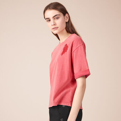 Embroidered cotton T-shirt - Tops & Shirts - MAJE