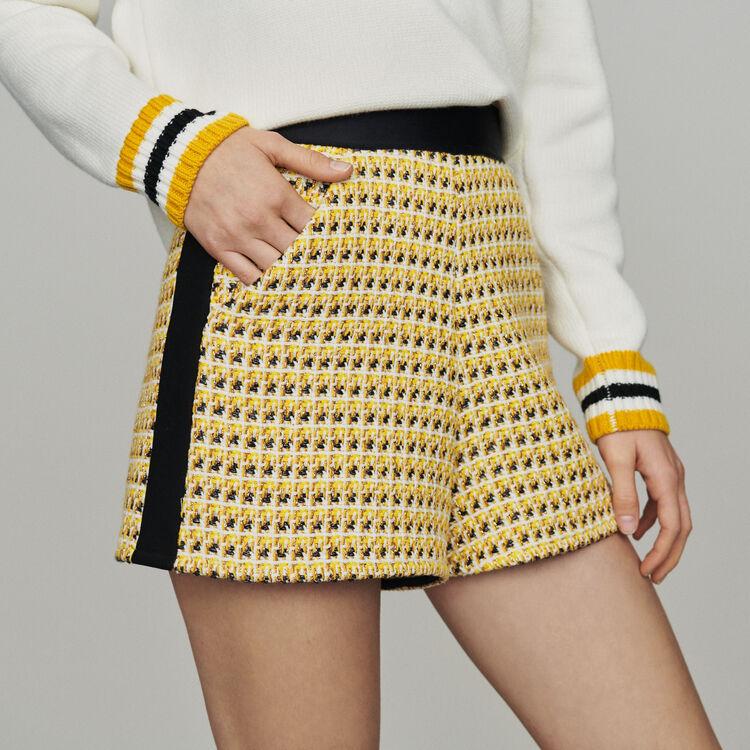 마쥬 MAJE ISIDORE Shorts in tweed and lurex,Yellow