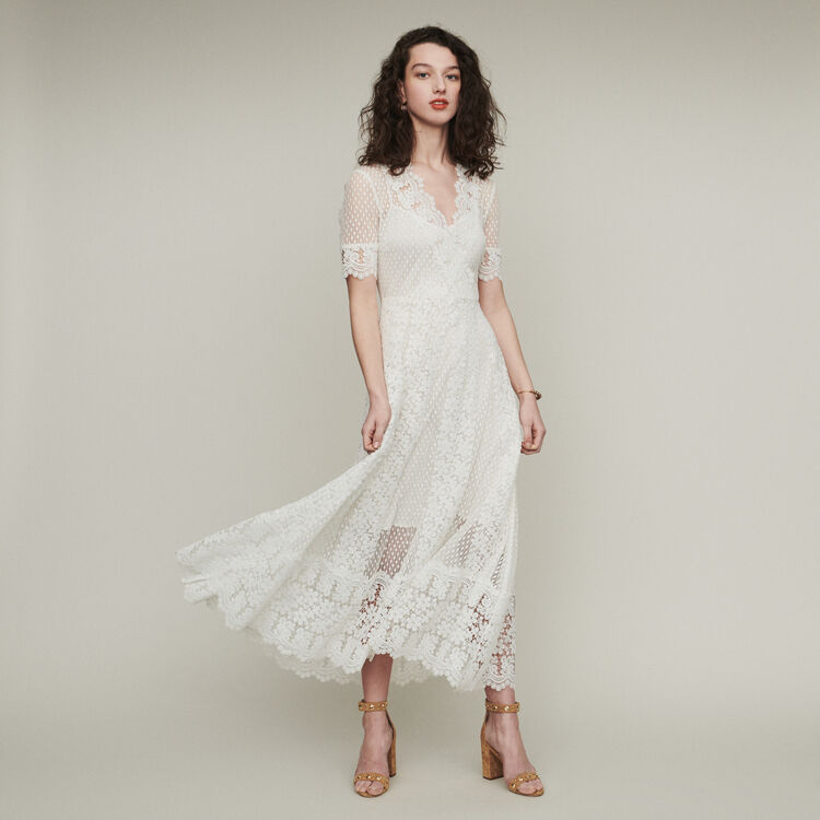 마쥬 REVANTI 데이지 레이스 롱 원피스 화이트 MAJE REVANTI Long Swiss dot dress with daisy lace,WHITE