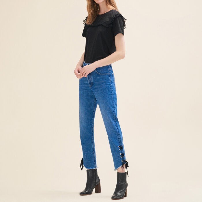 Boyfriend-cut cropped jeans -  - MAJE