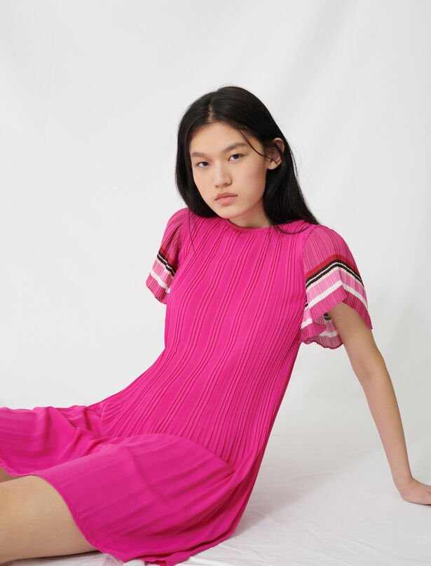마쥬 스트라이프 주름 원피스 MAJE 220ROLINI Pleated dress with sporty stripes,Fuchsia