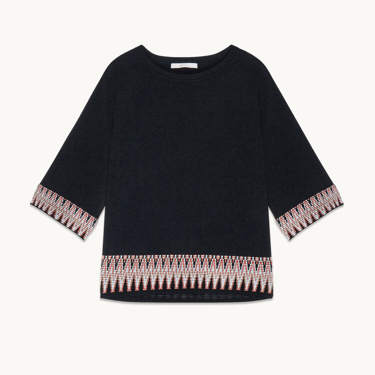 Jumper with jacquard detail -  - MAJE