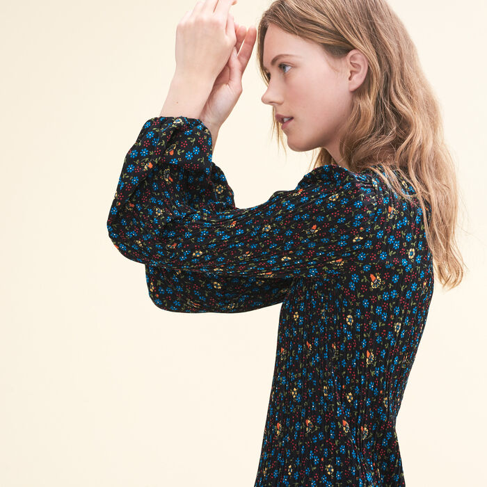 Pleated printed dress -  - MAJE