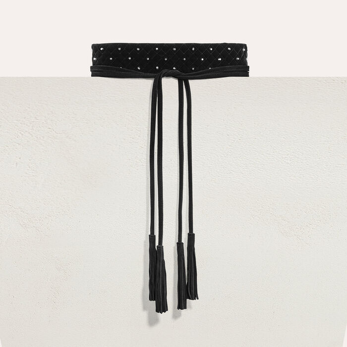 Wide tie belt with studs -  - MAJE