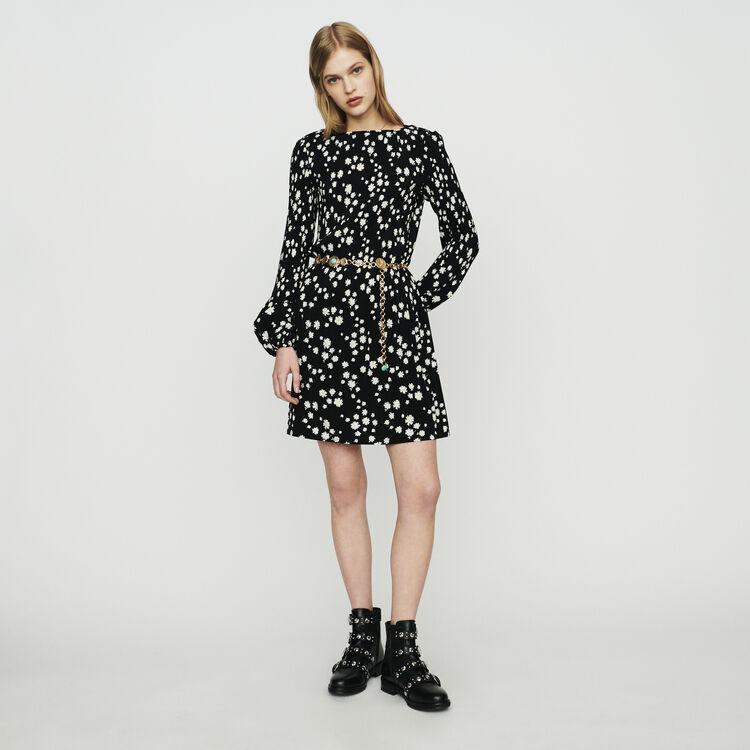 마쥬 ROCKIZ 데이지 프린트 주름 원피스 MAJE Pleated dress with daisy print,PRINTED