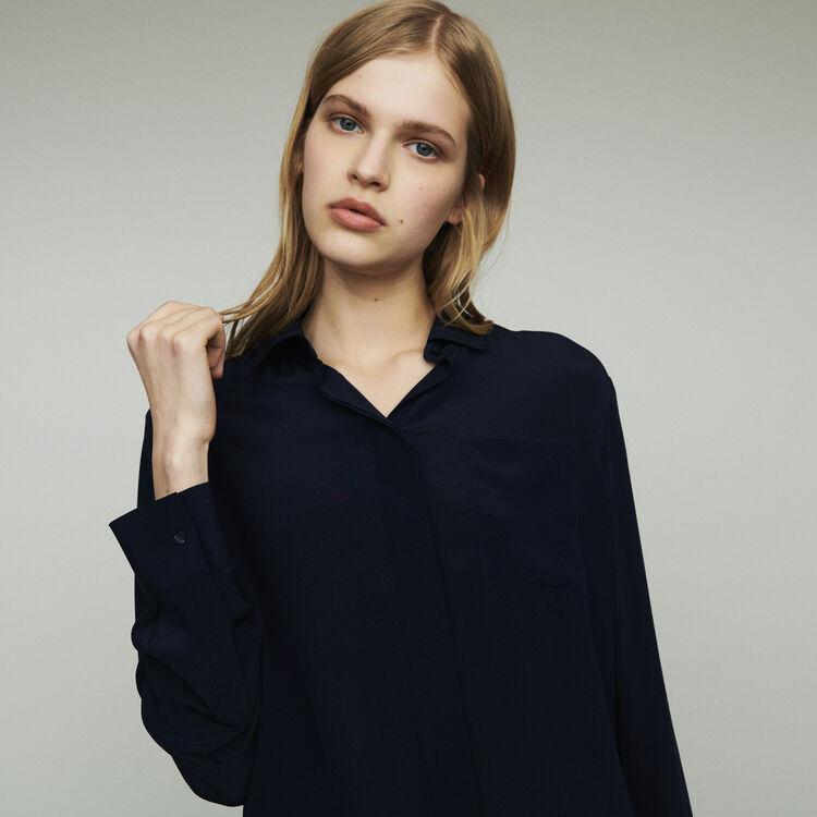 마쥬 CELA 실크 셔츠 네이비 MAJE Silk shirt,Navy