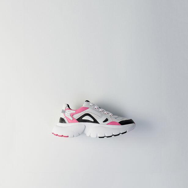 마쥬 가죽 스니커즈 MAJE FASTER W20 leather city sneakers,Pink