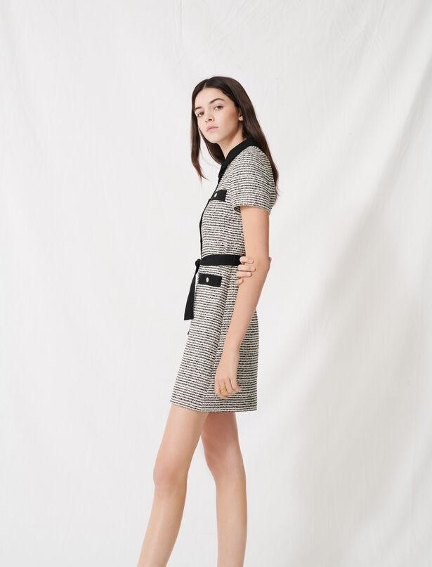 마쥬 트위드 미니 원피스, 리본 벨트 탈착 가능 (지효 착용) MAJE 220RENALA Belted tweed-style dress, Black / White
