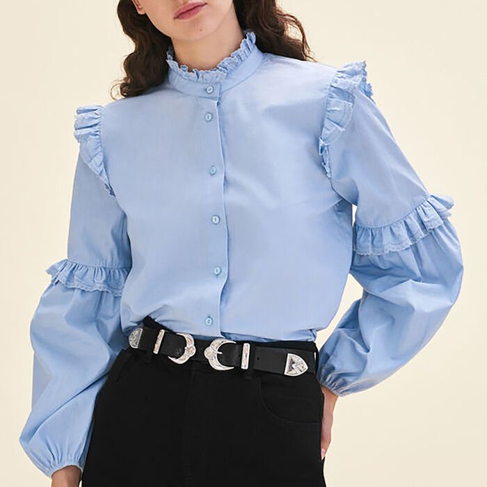 Poplin shirt with frills -  - MAJE