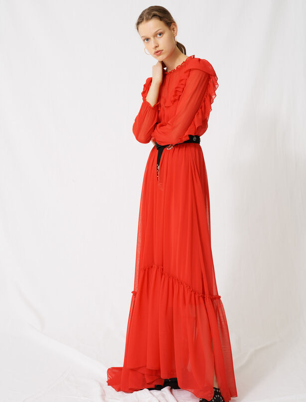 마쥬 프릴 롱 원피스 MAJE 220RACHANA Long muslin dress with ruffles,Red
