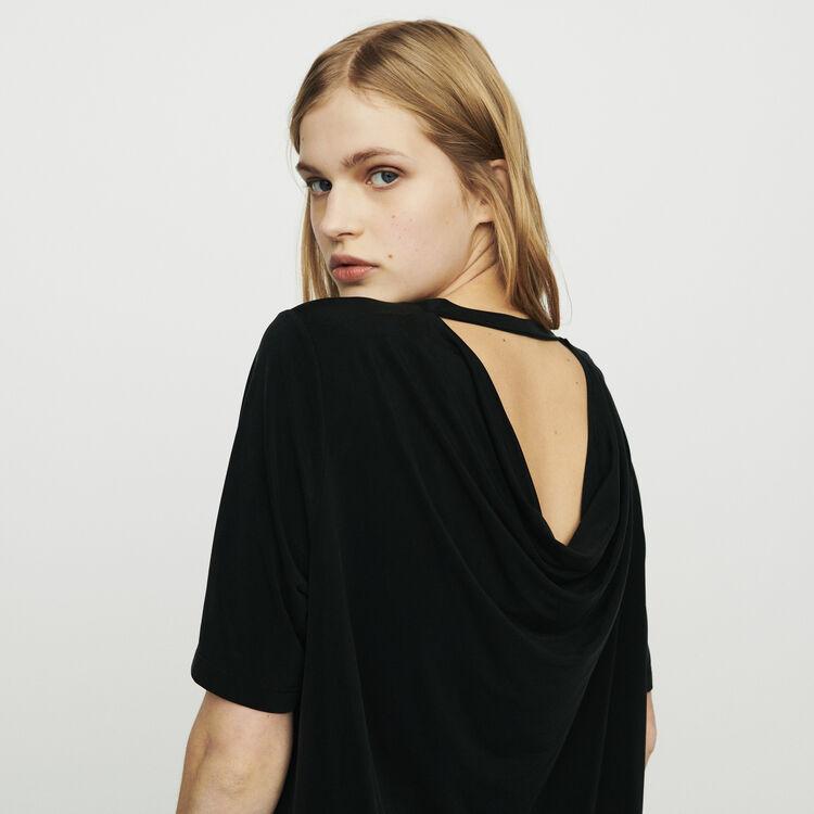 마쥬 TRESSE 반팔 티셔츠 MAJE TRESSE T-shirt in cupro,Black