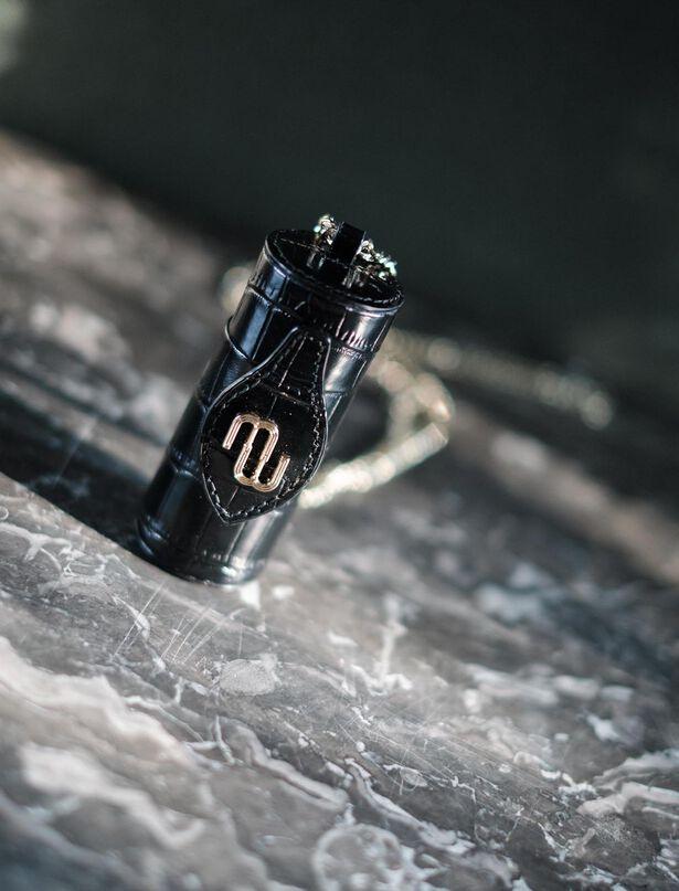 마쥬 립스틱 케이스 MAJE 220LWALK Embossed leather lipstick case,Black
