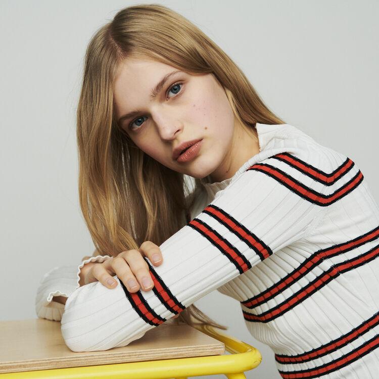 마쥬 MANUEL 스트라이프 스웨터 MAJE Thin sweater in striped tube knit,Stripe