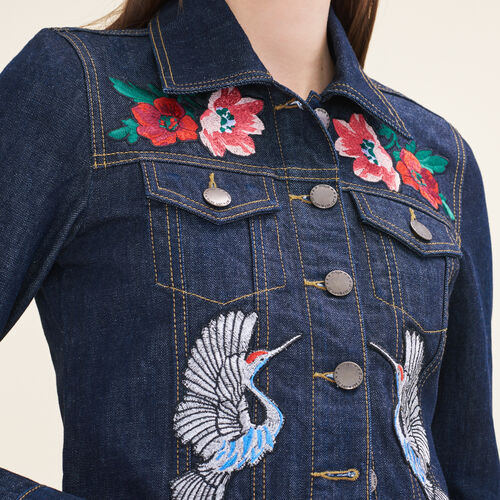Denim jacket with embroidered crests - Coats & Jackets - MAJE
