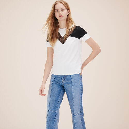 T-shirt with lace - Tops & Shirts - MAJE