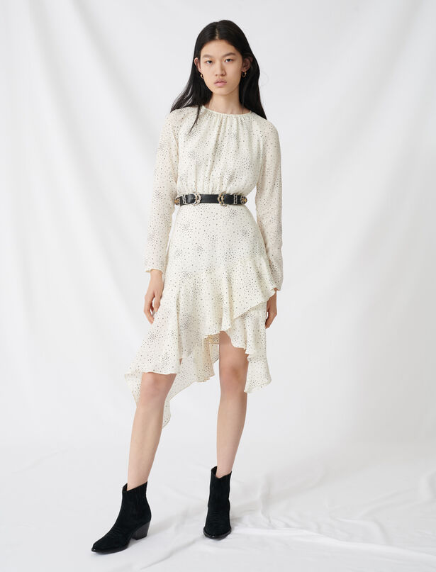 마쥬 별 프린트 언발 원피스 MAJE 220RETO Floaty, asymmetric star-print dress, Ecru/Black