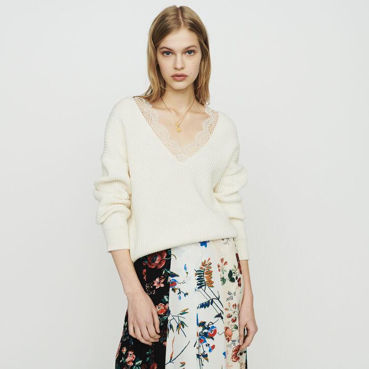 마쥬 MATILDE 오버사이즈 레이스 스웨터 에크루 MAJE Oversized sweater with lace,Ecru