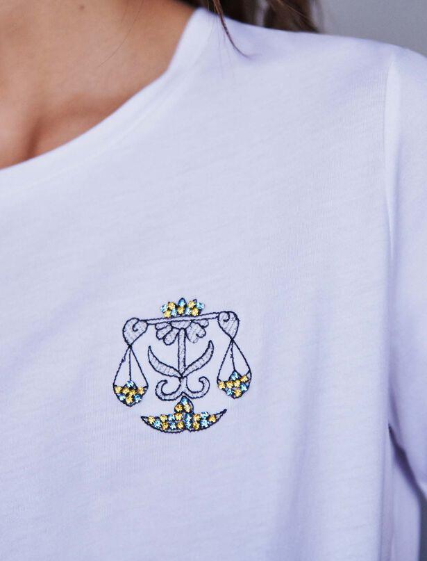 마쥬 MAJE 119TASTROBAL Embroidery and rhinestone cotton t-shirt,Ecru