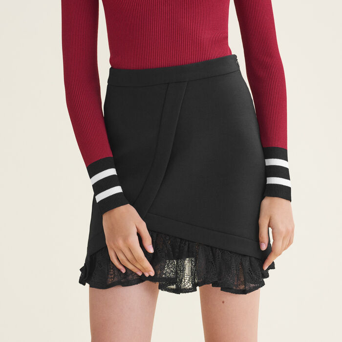 Asymmetrical skirt with lace details -  - MAJE