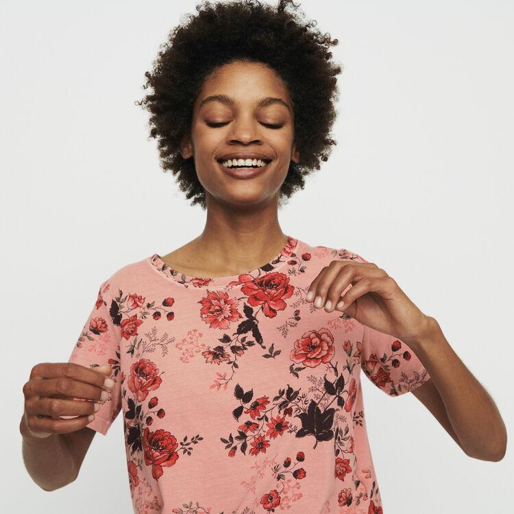 마쥬 TULUM 로즈 프린트 반팔 티셔츠 MAJE T-shirt with rose print,PRINTED