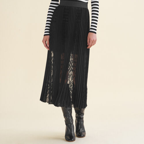 Pleated skirt with lace - Skirts & Shorts - MAJE