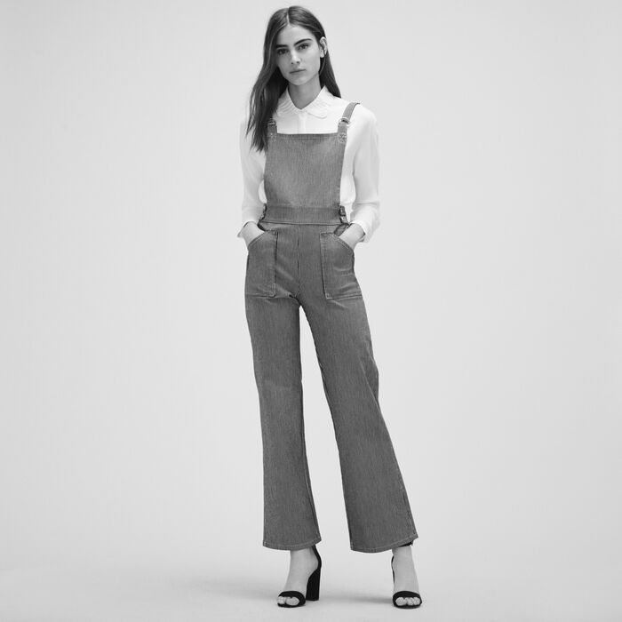 Striped dungarees - Pants & Jeans - MAJE