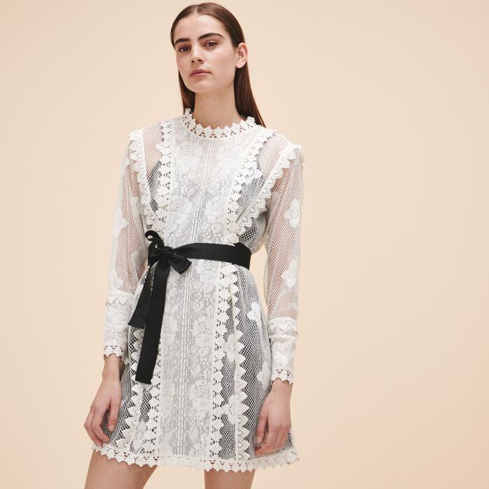 Lace dress with belt -  - MAJE