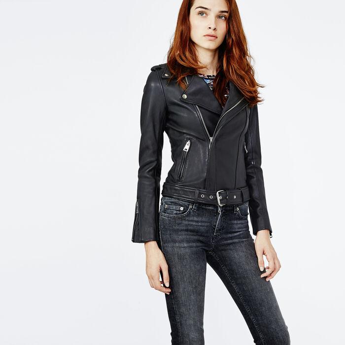 BOCELUI Lambskin leather jacket with belt - Coats & Jackets - Maje.com