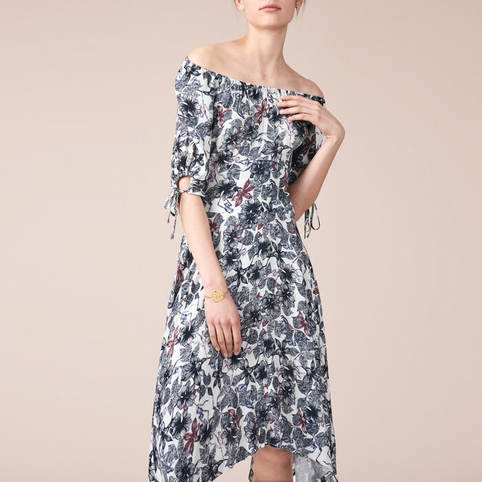 Long printed crêpe dress -  - MAJE