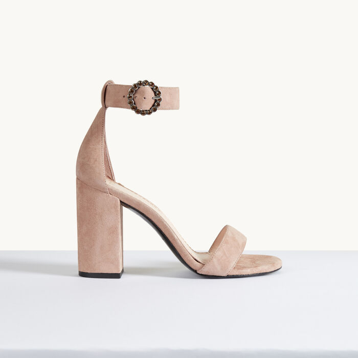 Suede heeled sandals -  - MAJE
