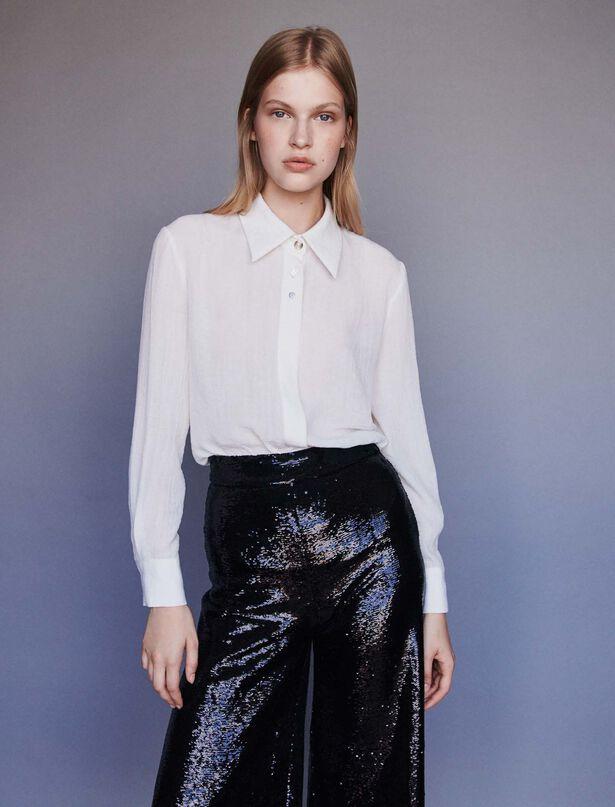 마쥬 쥬얼 버튼 타이 셔츠 MAJE 119CHARLINE Tie bow shirt with jeweled buttons,Ecru