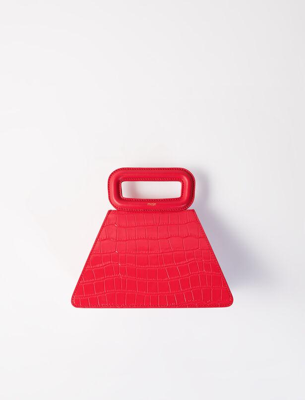 마쥬 피라미드백 MAJE 220ABAG Crocodile-effect leather pyramid bag